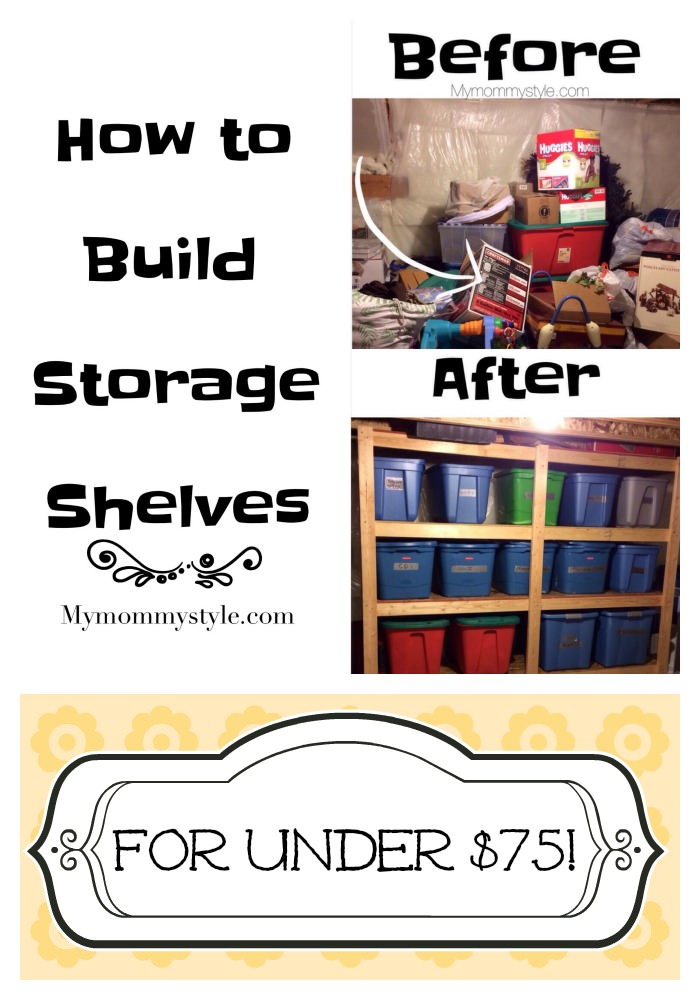 How to build storage shelves, DIY, Home Depot, How to, Step by Step guide, mymommystyle.com, organizing, spring cleaning