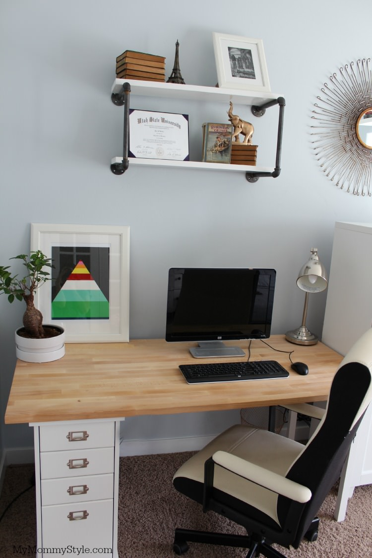 his desk, family office and guest room, IKEA, mymommystyle.com, Modifyink, family office, home office, modify ink
