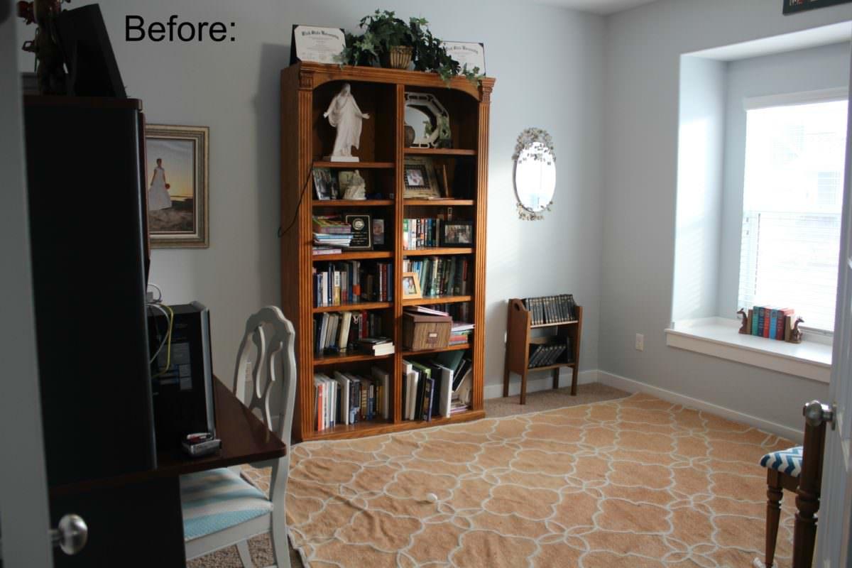 home office before, bookshelf
