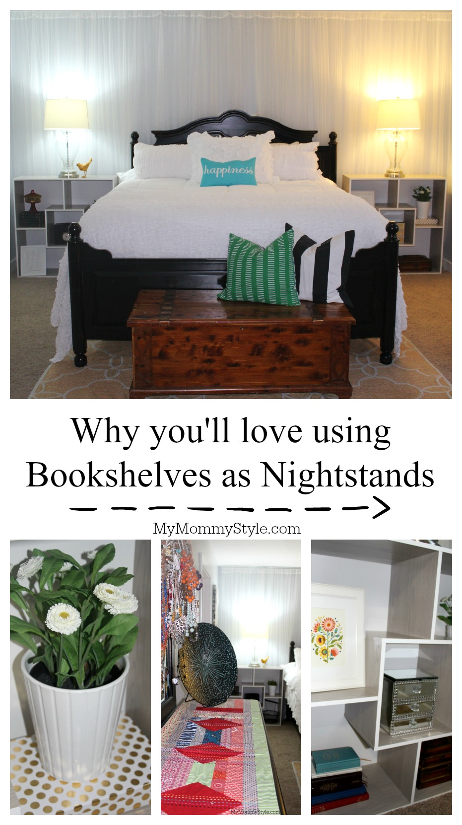 bookshelves as nightstands, sauder, mymommystyle, master bedroom, bookshelves as nightstands,
