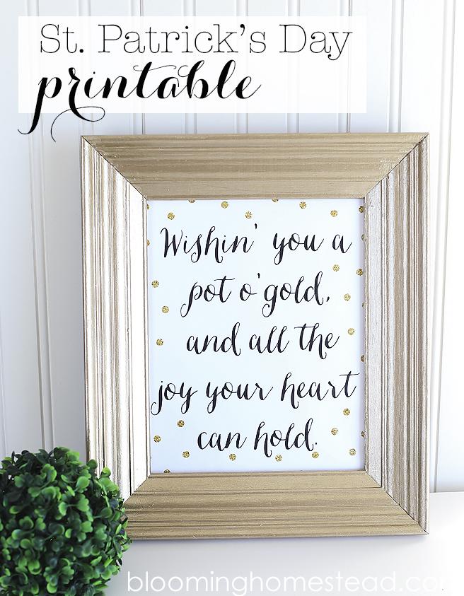 St patrick's day printable gold polkadots