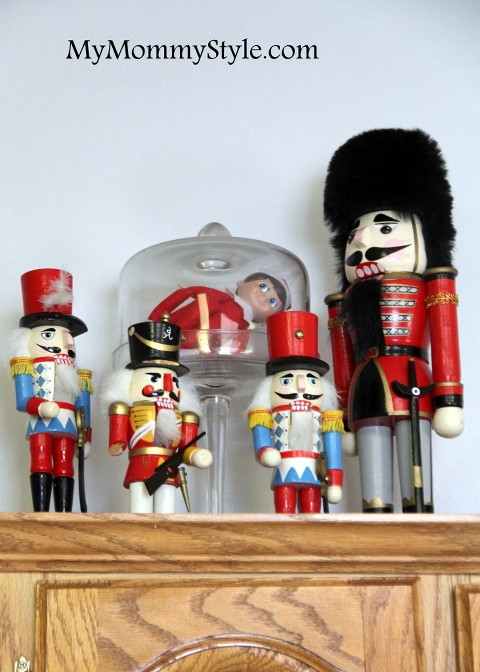 Nutcrackers with elf on the shelf in the trap