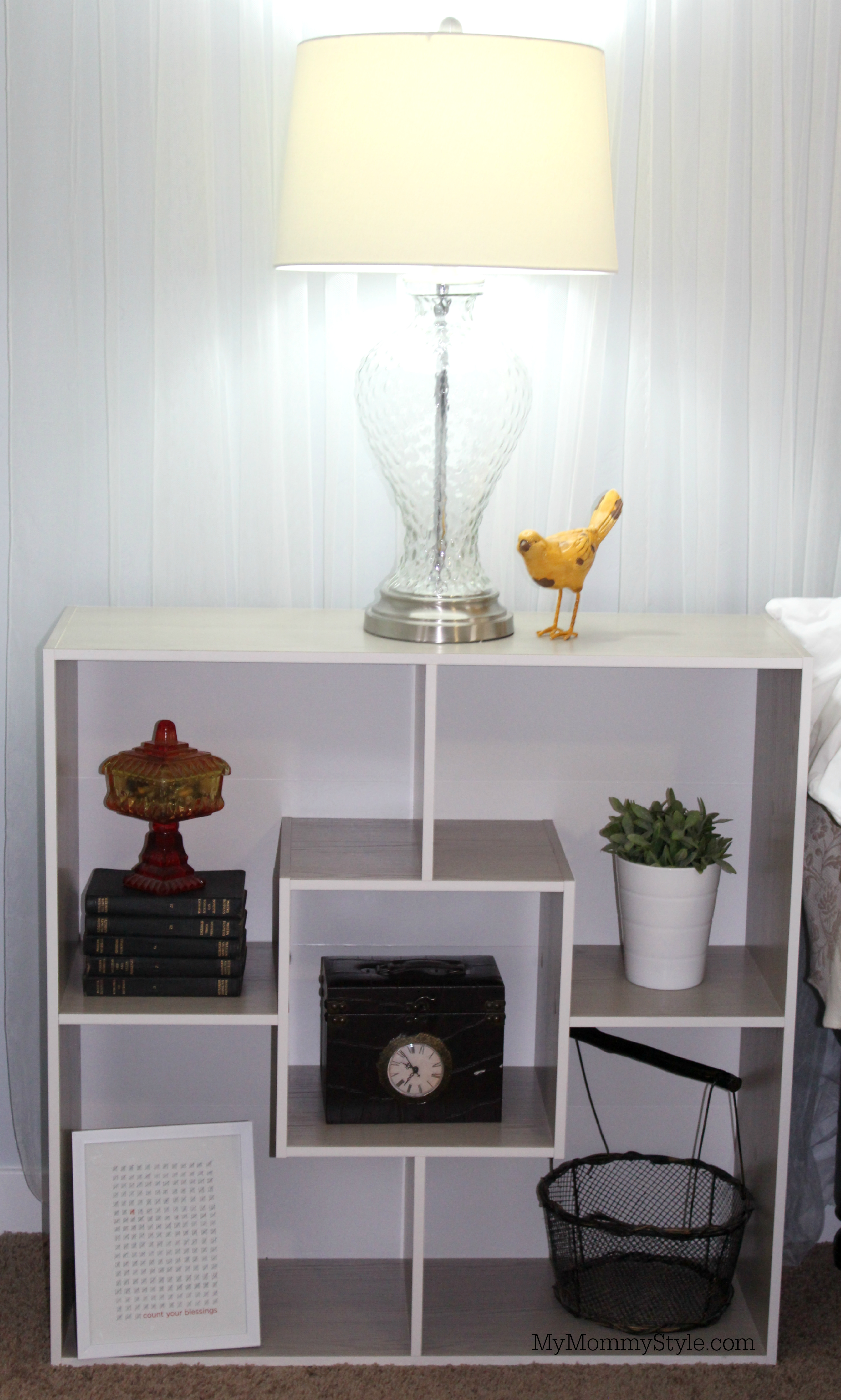 Bookshelf nightstand with simple decor