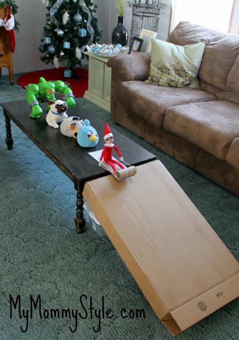Sledding elf on the shelf