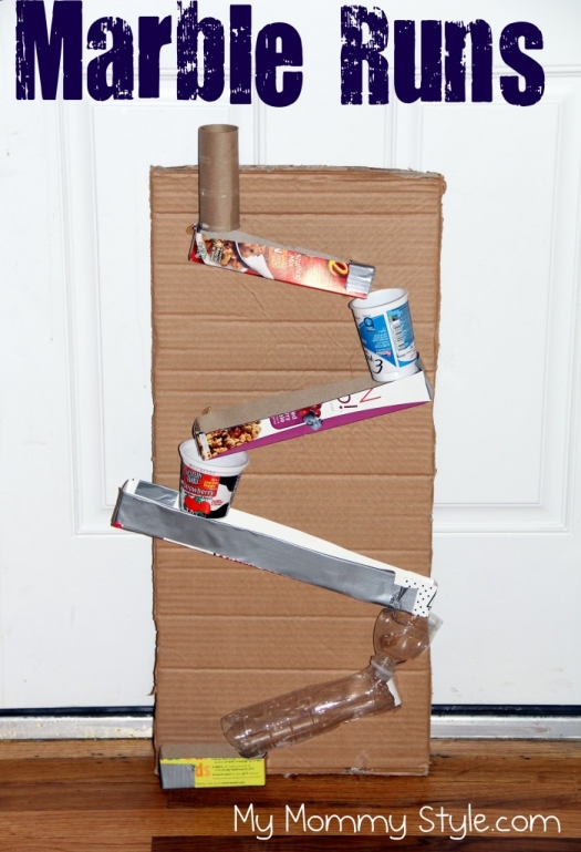 Homemade marble run my mommy style for Useful things to make out of recycled materials