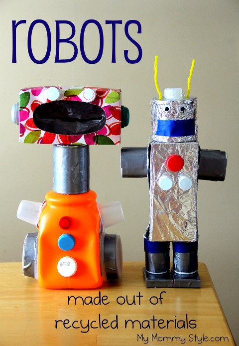 Recycled art project of robots