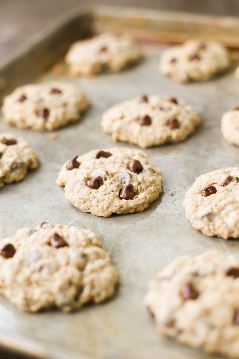 Freshly baked oatmeal chocolate chip cookies