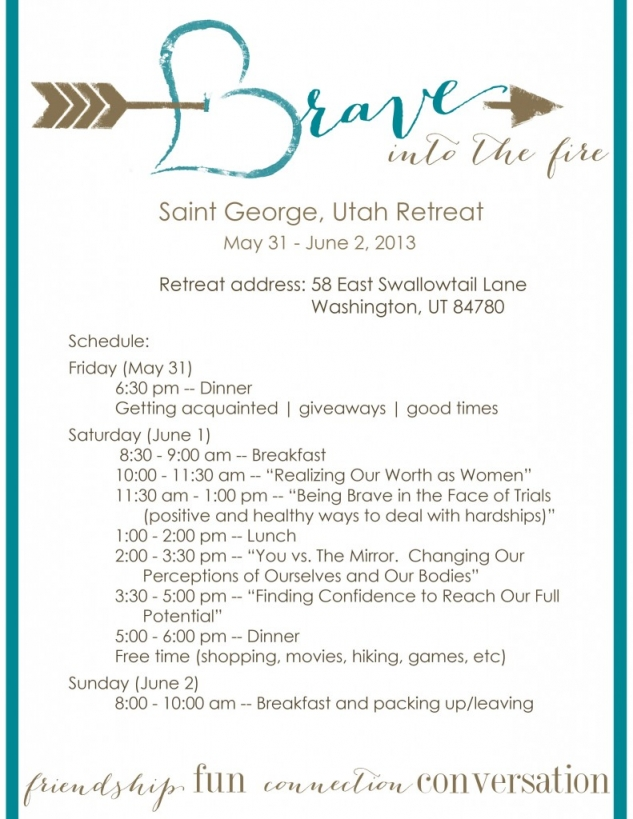 B r a v e women 39 s retreat my mommy style for How to plan a couples retreat