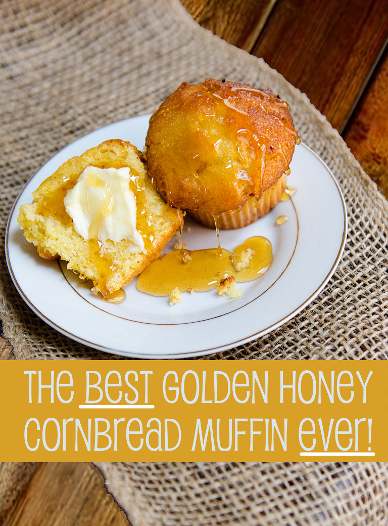 golden honey cornbread muffin