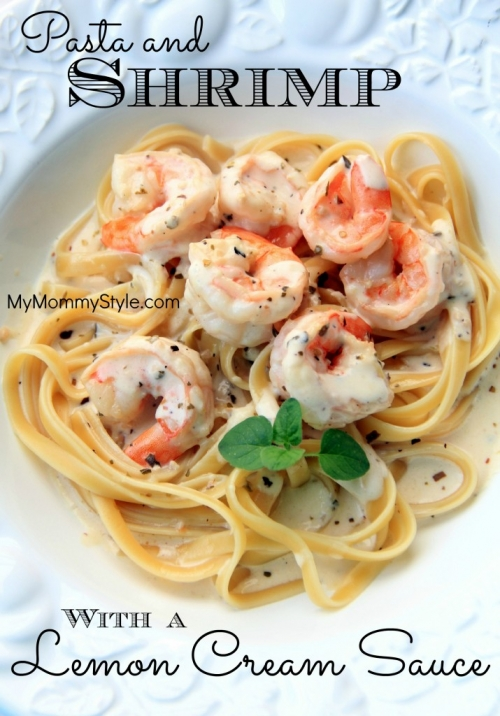 Pasta and Shrimp with a Lemon Cream Sauce