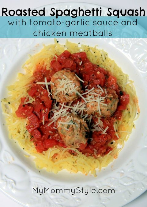 chicken meatballs and roasted spaghetti squash