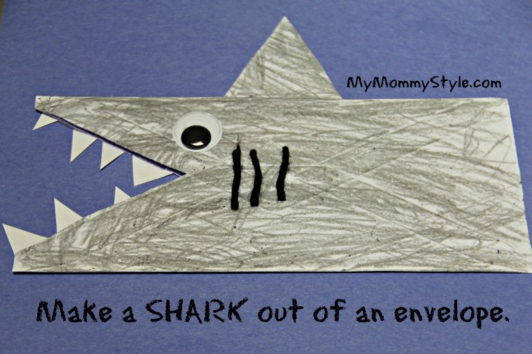 shark craft envelope, boycraft, funwithkids, rainy day fun, shark week, discovery channel