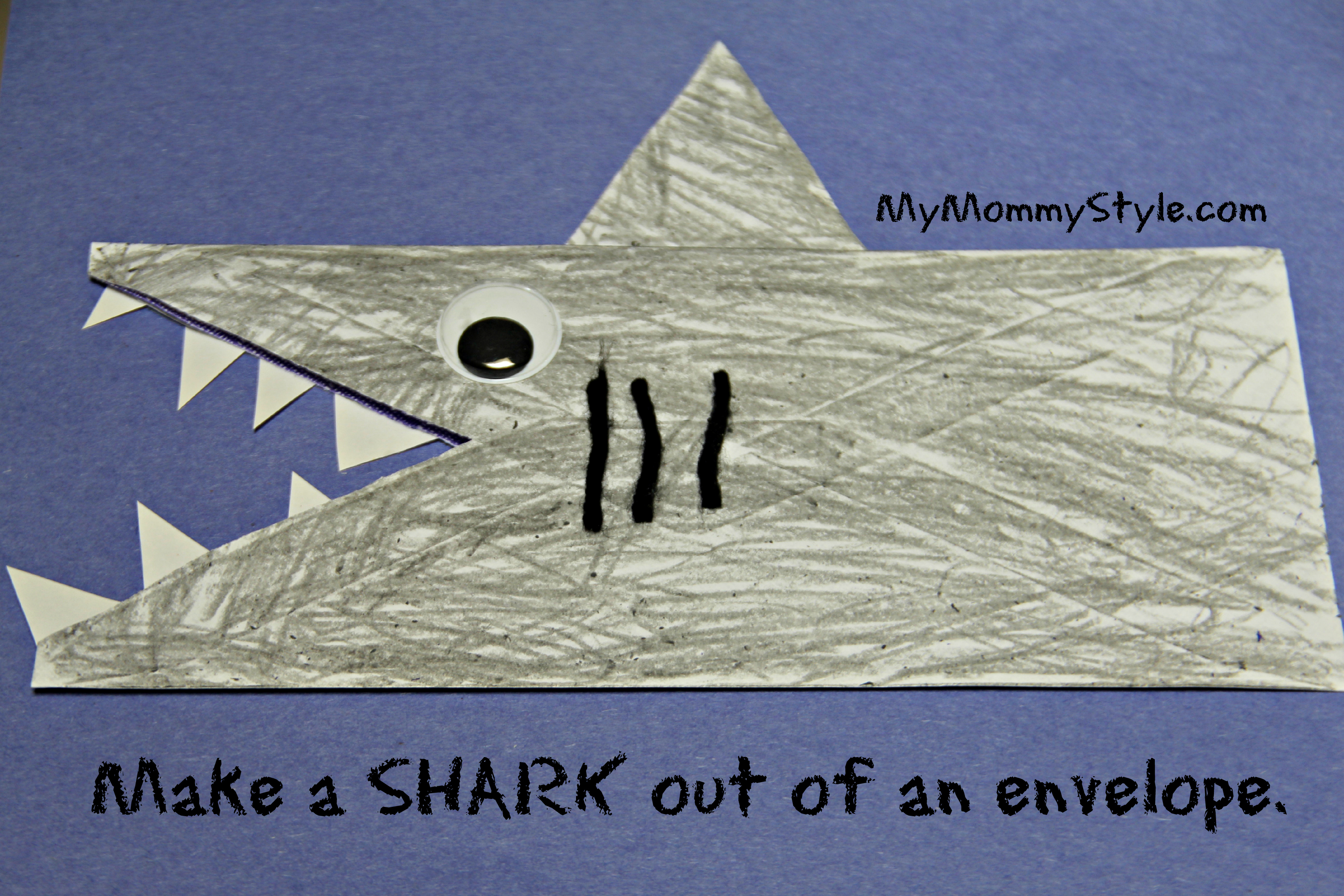 sharks made out of envelopes my mommy style