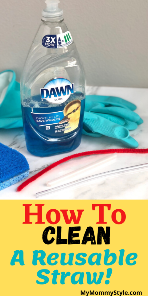 Dish soap, pipe cleaner, sponge and gloves to clean.