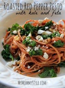 roasted red pepper pesto, kale, feta cheese, vegetarian meals, pasta dishes, whats for dinner