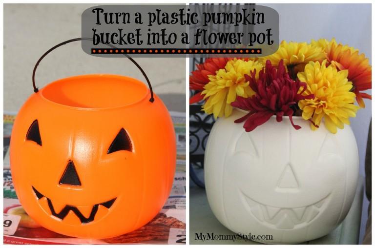 pumpkin bucket with flowers