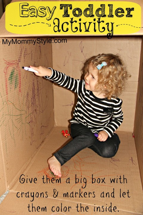 toddler activity, coloring a big box, entertainment for kids, activities for 2 year olds