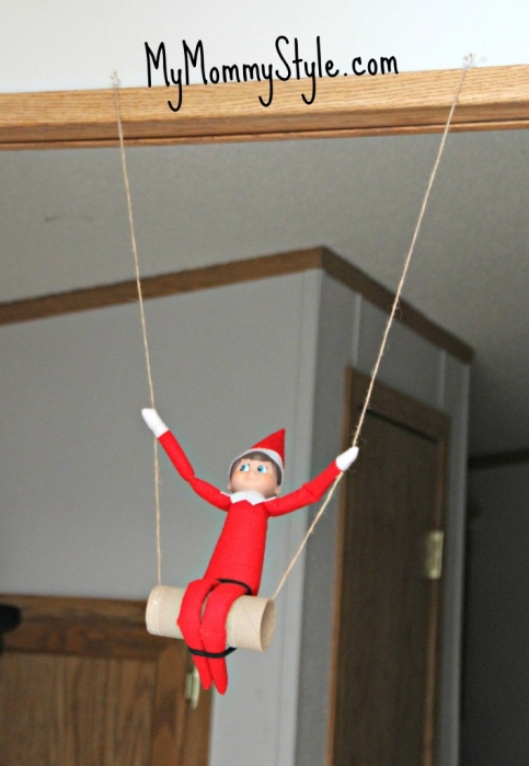 christmas, elf on the shelf ideas, elf swing