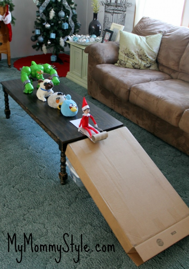 christmas, elf on the shelf, sledding elf