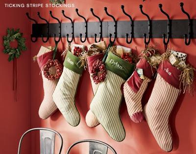stockings on wall hooks