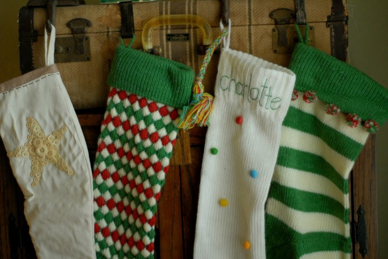 stockings hung on a suitcase