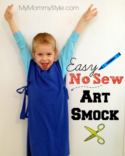 easy no sew art smock for kids
