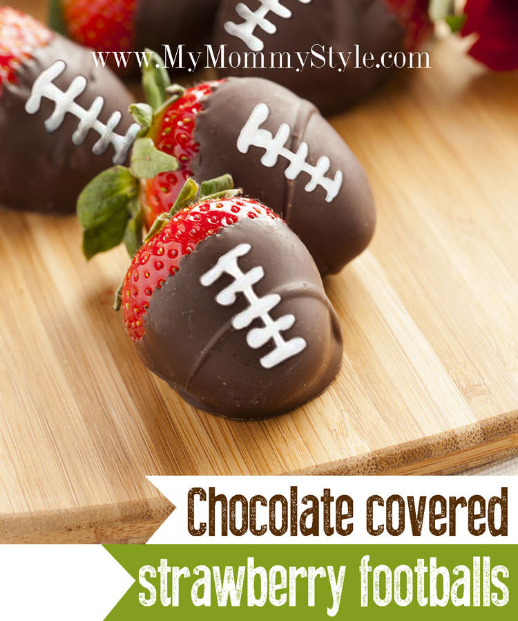 Chocolate Covered Strawberry Footballs For Superbowl Sunday