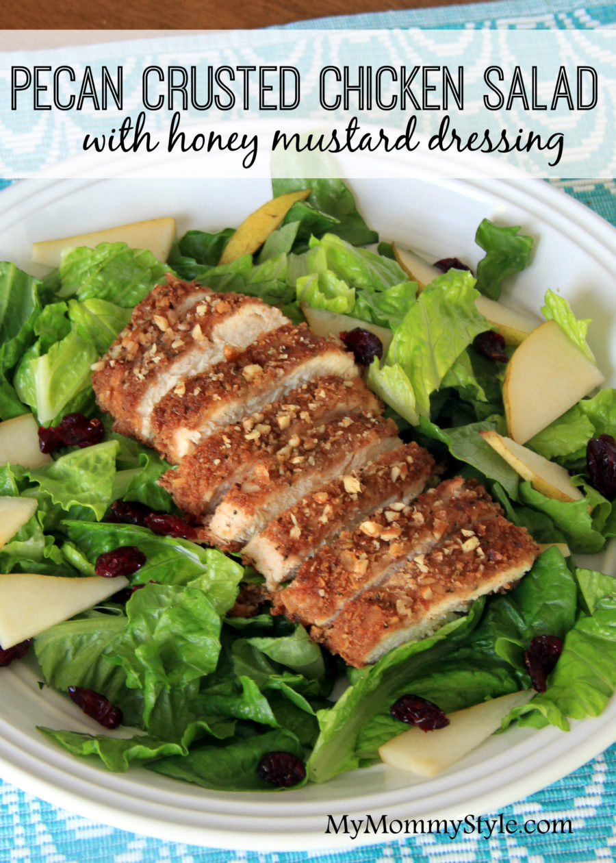 Pecan crusted chicken with honey mustard dressing