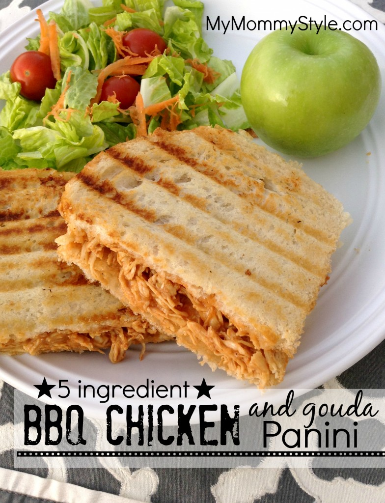 5 ingredient bbq chicken and gouda panini