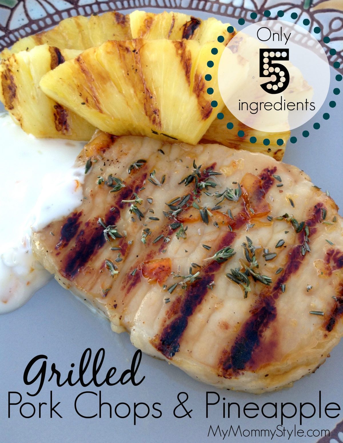 Grilled pork chops and pineapple