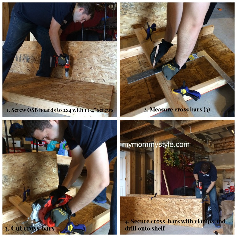 How to build storage shelves step by step, mymommystyle.com, cutting cross bars, diy, storage shelves, wood storage shelves.