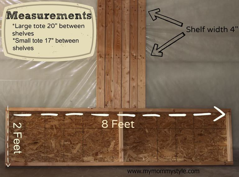 how to build storage shelves, DIY, measurements for shelves, www.mymommystyle.com