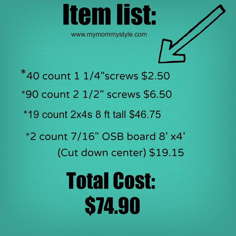 how to build storage shelves, cost, mymommystyle.com, item list for storage shelves