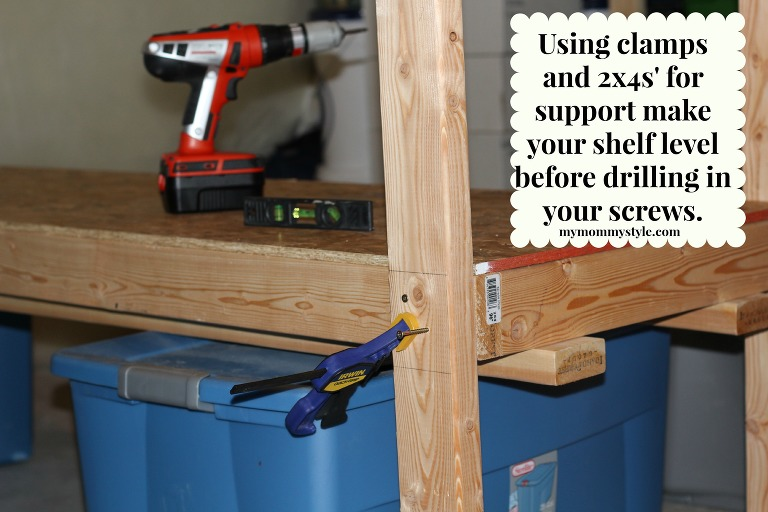 leveling out shelves, how to build storage shelves, DIY, home depot, mymommystyle.com
