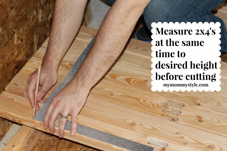 measuring 2x4s, how to make storage shelves, mymommystyle.com