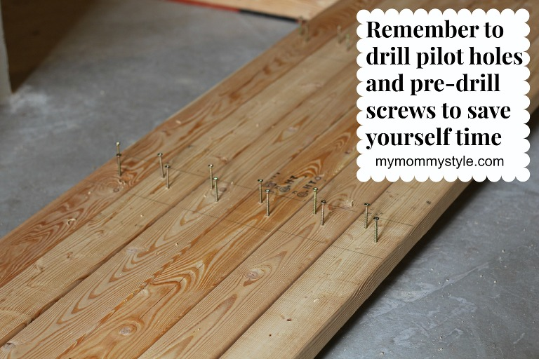 pre-drill holes, how to build storage shelves, mymommystyle.com