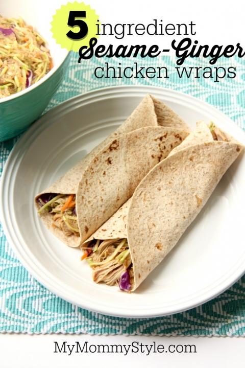 5 ingredient Sesame-ginger turkey wraps