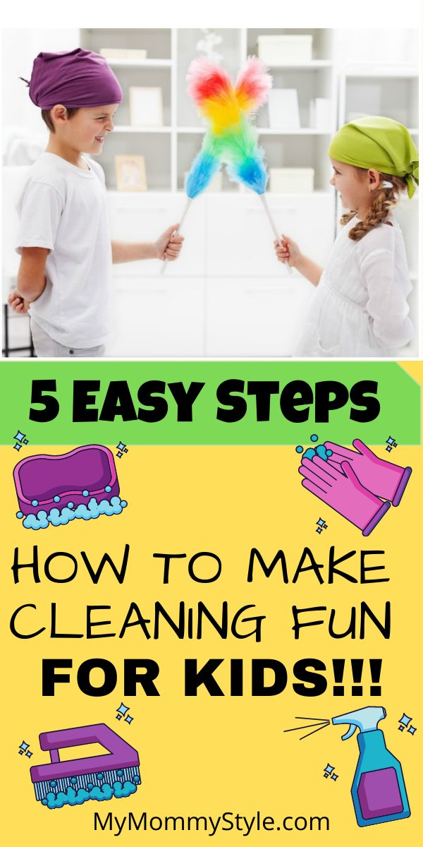 Learn how to make cleaning fun for your kids with these 5 steps. Teaching them to clean will lessen your load and help teach responsibility. #howtomakecleaningfun via @mymommystyle