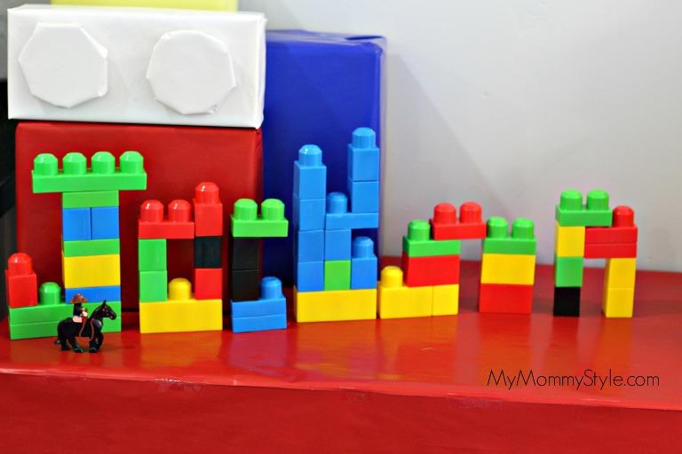 Lego Party, name out of legos, Jackson, lego movie party