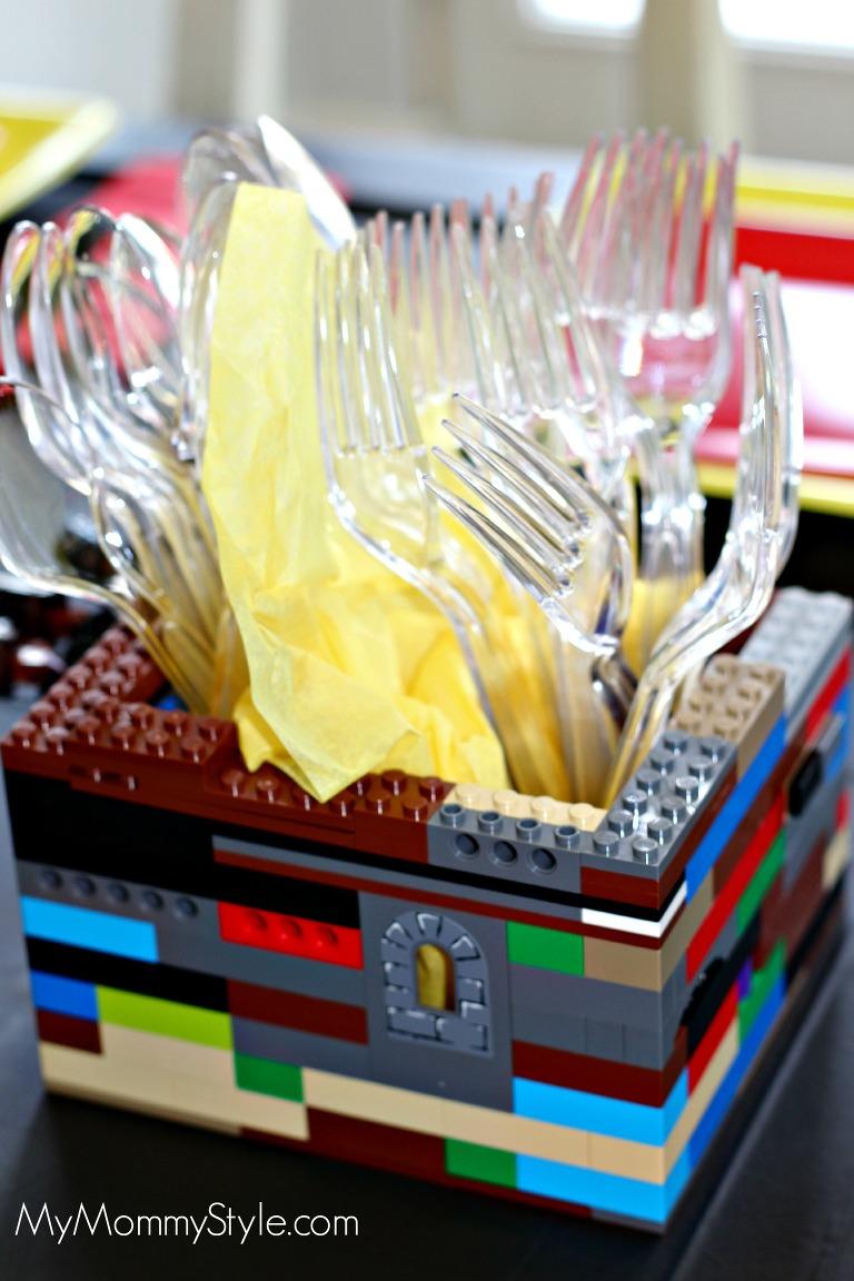 Lego Party, utensil holder, lego utensil holder