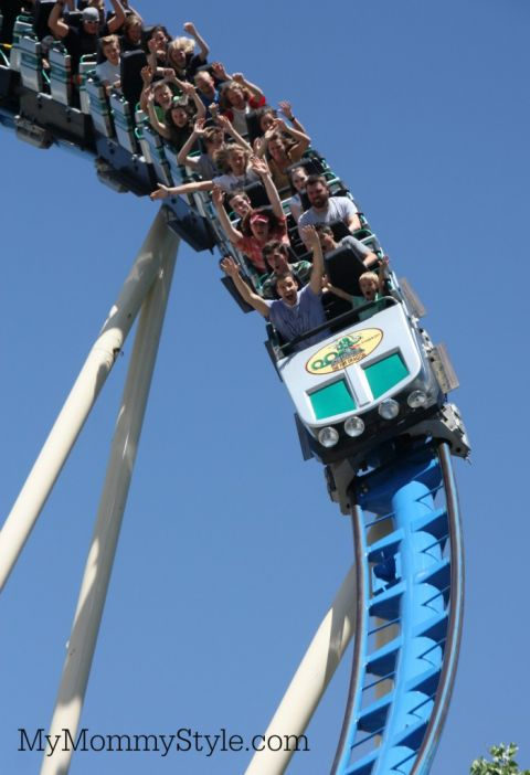 People on a roller coaster ride
