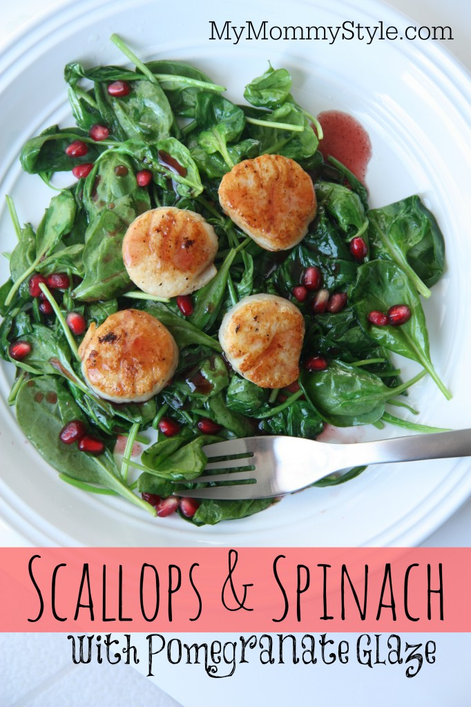 scallops and spinach with pomegranate glaze  my mommy style