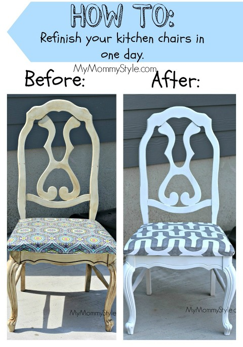 DIY kitchen chairs, before and after, mymommystyle.com