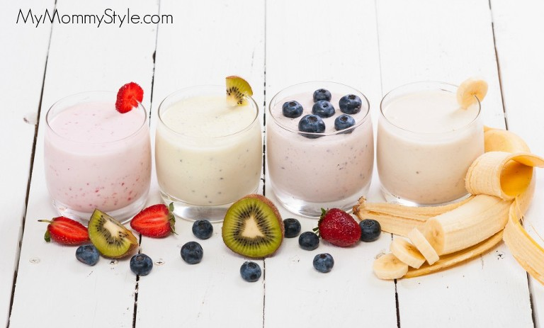 Fruit smoothies with blueberries , strawberry, kiwi and banana