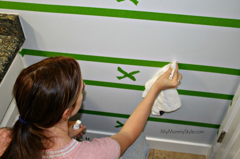 frog tape, painting horizontal stripes, painting, small bathroom - Copy