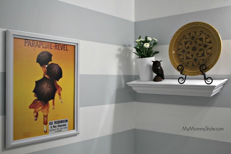 small bathroom decor, mymommystyle.com, frog tape, horizontal stripes