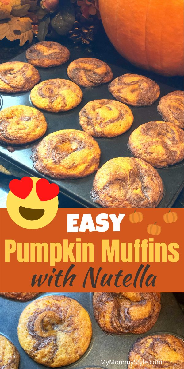 Pumpkin with swirls of chocolate hazelnut are the perfect combination in these easy pumpkin muffins with Nutella. A must have for Fall! #easypumpkinmuffinswithnutella #pumpkinmuffins #easypumpkinfmuffins #pumpkinnutella via @mymommystyle