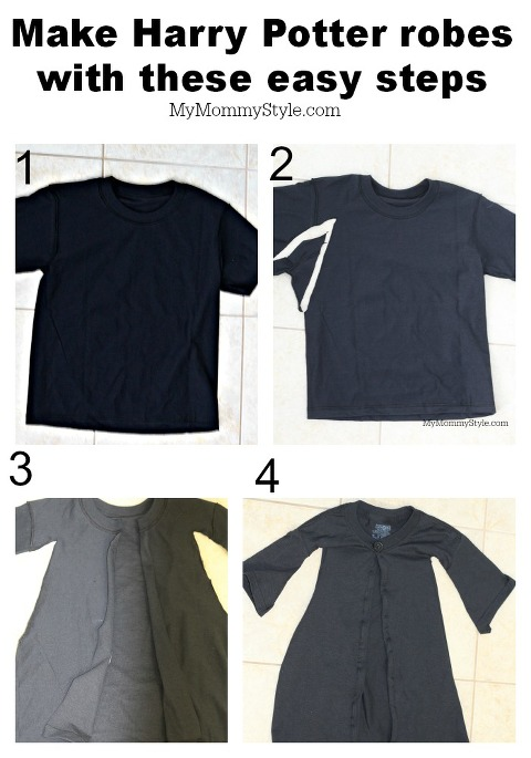 4 Steps Black Shirt being made into Harry Potter Robe.