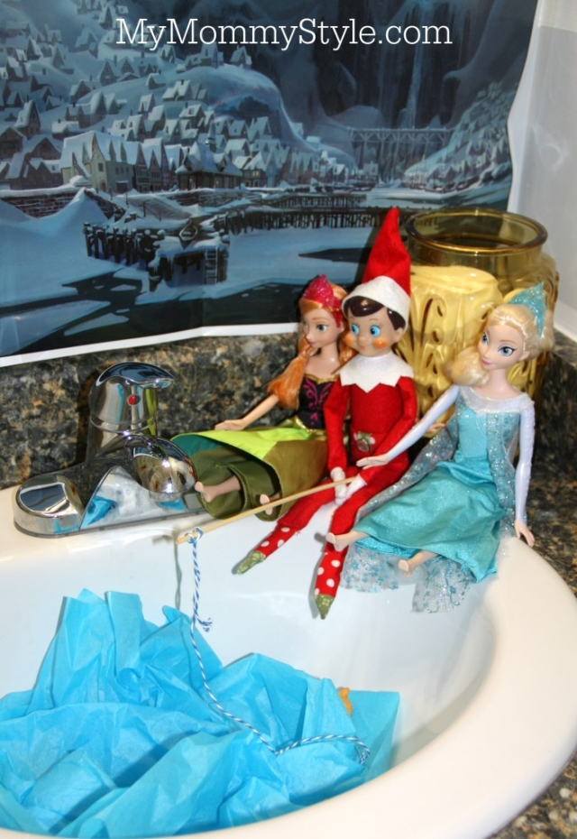 Elf on the shelf frozen going fishing with elsa and for Elf on the shelf fishing