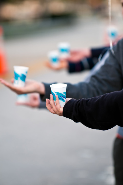 Hands offering water